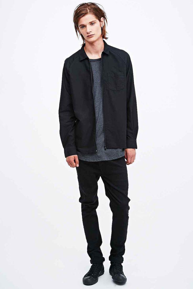 Indigo & Maine Raglan Zip Jacket Style Shirt in Black