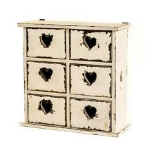Antique White Wooden Table Top 6 Drawer Storage Unit Chest with Heart Hole Pulls