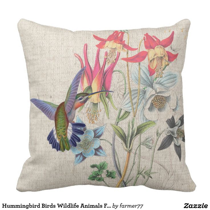 Hummingbird Birds Wildlife Animals Flowers Floral Pillow-Gorgeous vintage botanical fine art of exotic tropical Hummingbird Birds by Gould and vintage habitat Columbine Flowers is on this Faux Linen Pillow.