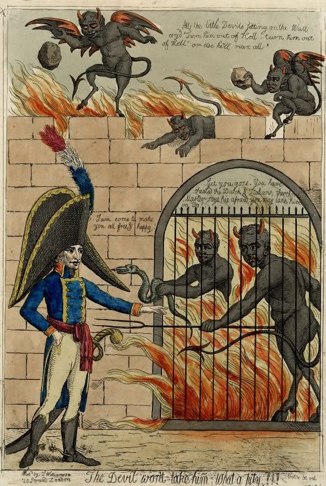 Napeleon being refused to enter Hell, Isaac Cruikshank, ca. 1805