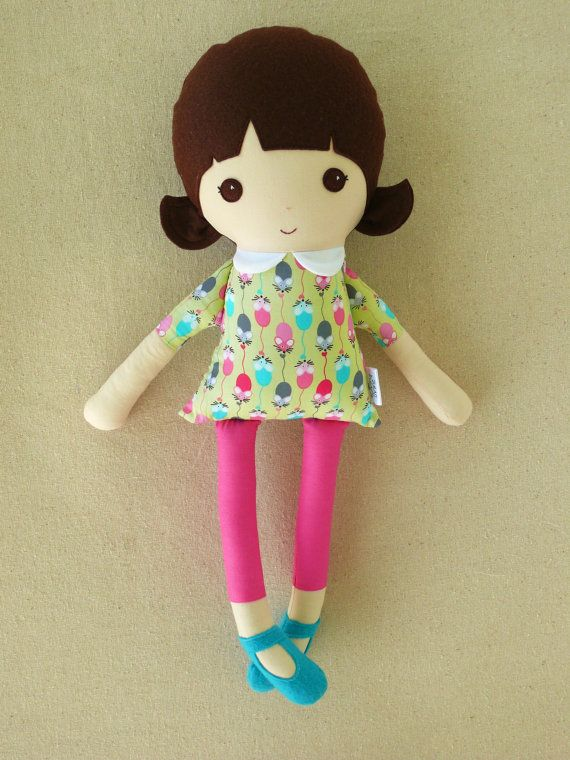 Fabric Doll Rag Doll Brown Haired Girl in Mouse Print Dress