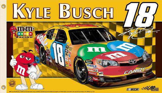 Kyle Busch KYLE NATION Giant 3'x5' NASCAR Flag - #18 M&M's Camry, Joe Gibbs Racing - available at www.sportsposterwarehouse.com