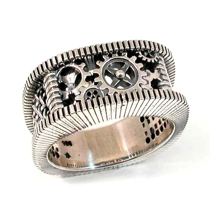 Steampunk Silver Ring Gears Grooves And Grates Mens Steam Punk Handmade