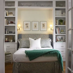 Great idea for our small bedroom space? Built-in bookcase headboard in small  bedroom gives elegant but cozy feel to the room.