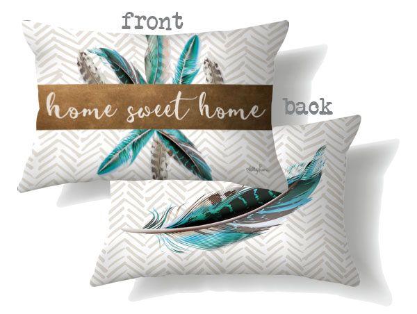 Set 2 Blue Feather Home Cushions Home Decor $79.95