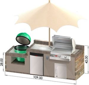 Housewarmings Outdoor Kitchen (Big Green Egg, Grill, Refrigerator)