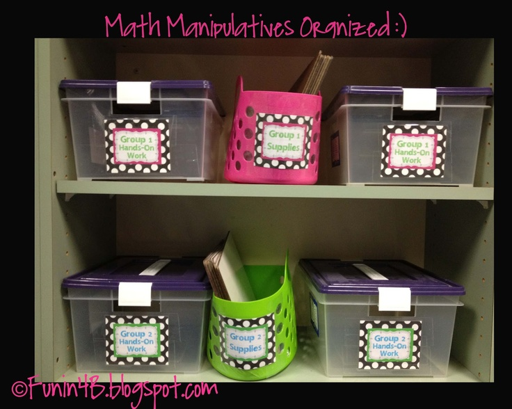Organize your math manipulatives!Guided Math, Math Rotator, 4B Math, Math Manipulation, Math Organic, Math Guide Math, Math Study, Book Study, Math Book