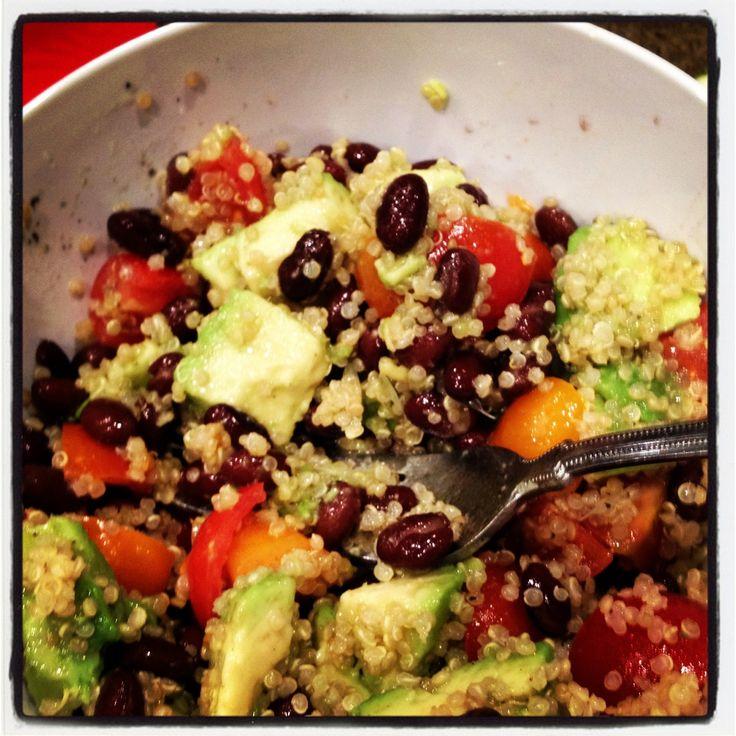 Quinoa and black bean salad with avocado.