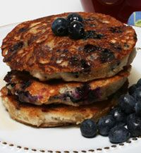 Flaxseed Blueberry Pancakes by aicr.org: Buckwheat, whole wheat, flax seeds, blueberries, and honey combine to form this powerhouse breakfast that's high in fiber, protein and B vitamins. Healthy and packed with flavor!  #Pancakes #Blueberries #Flaxseed #Buckwheat #Healthy