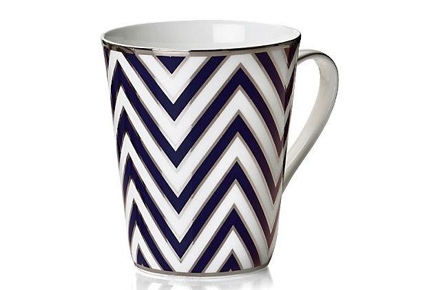 S/4 Zigzag Mugs, Blue/Silver on OneKingsLane.com