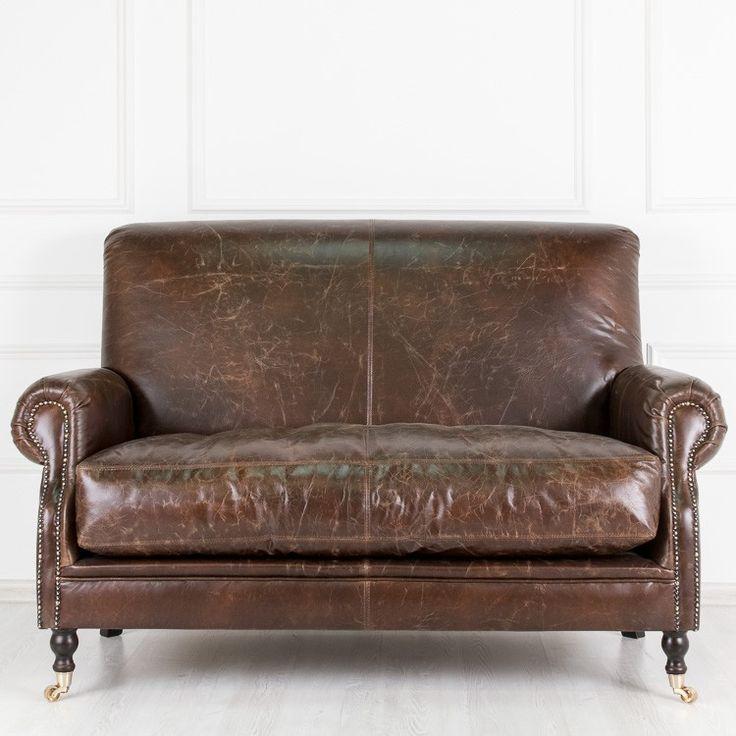 Классический кожаный двухместный диван Winston