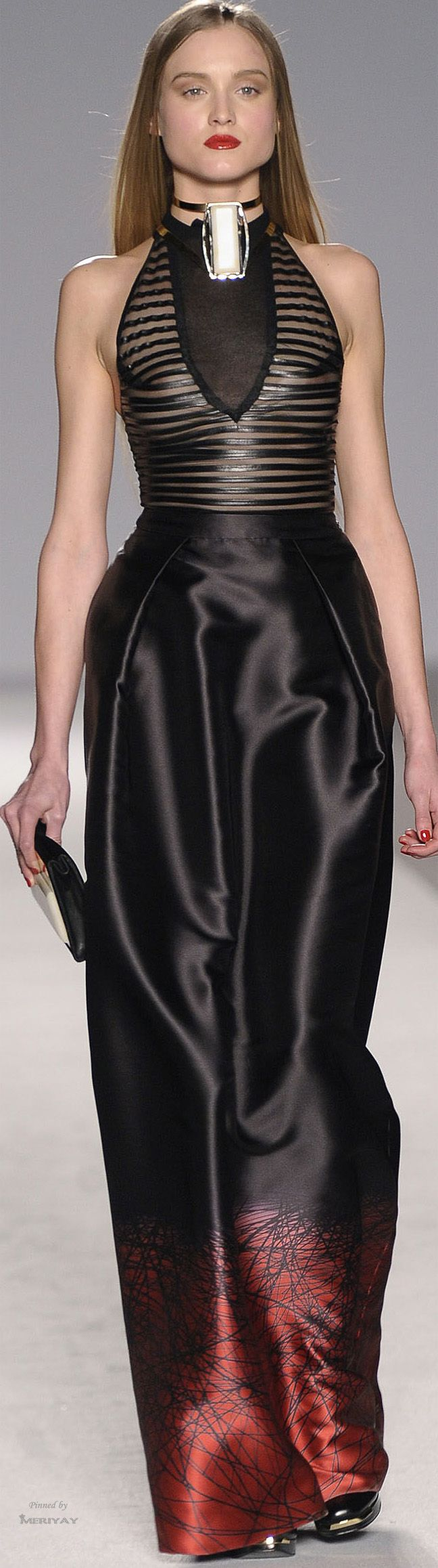 "Aigner Fall-Winter 2014-2015 - The House of Beccaria#- don't care for that white ""thing"" at the neck. It look like a breathing tube implant, but the dress in slammin.'"