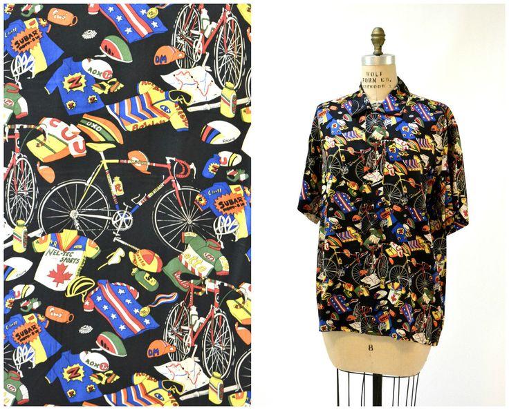 Vintage Bike Cycling Tour De France Print Nicole Miller Silk Shirt Size XS Small Medium// Vintage Bike Shirt Mens Silk Shirt Pop Art by Hookedonhoney on Etsy