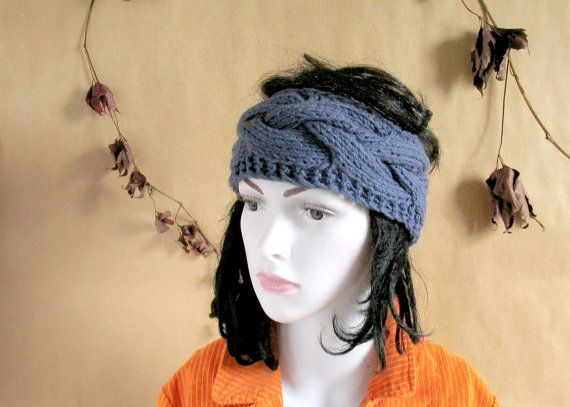 blue knitted headband knit head wrap knitted by recyclingroom