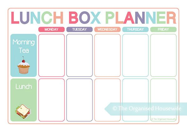 Lunch Box Planner - Printable - Planning food for lunch boxes is just as important as planning dinners