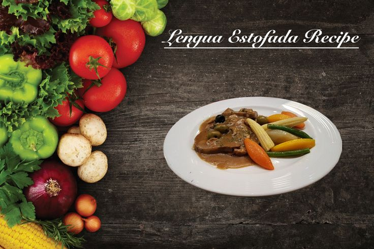 Lengua Estofada Recipe is a lutong pinoy that is a stewed ox tongue cooked in tomato sauce and topped with potatoes, mushrooms and olives.