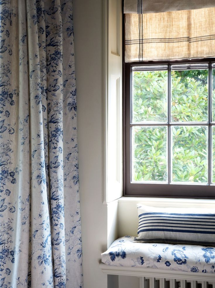 Cabbages & Roses Constance Blue Fabric Curtains