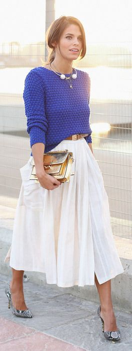 Klein Blue Structured Knit Sweater by Seams For a Desire women fashion outfit clothing style apparel @roressclothes closet ideas