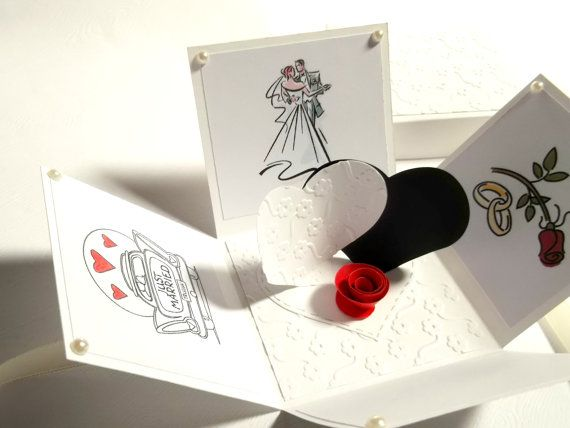 Exploding Box For A Wedding Greeting Card Love by StardustPaper