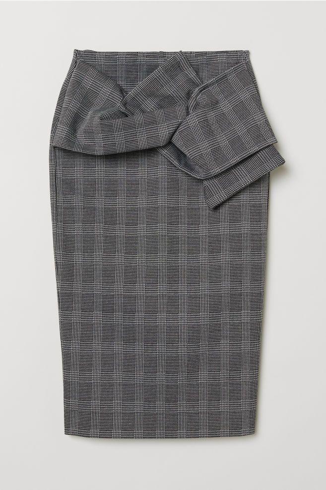 368bd7bbedac Pouzdrová sukně s uzlem - Tmavě šedá kostkovaná - ŽENY