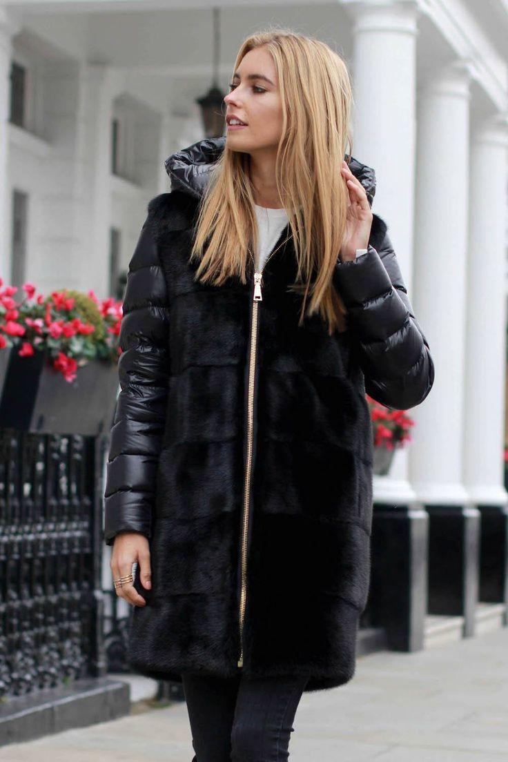 Lisa down mink coat - black