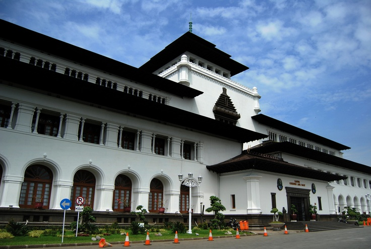 Gedung Sate. (Sate Building) A neo-classical building mixed with native elements that served as a governmental office under Dutch administration and now serves as the governor's office of the West Java province in Indonesia. Located in Bandung, the building was designed by a Dutch architect J. Gerber.