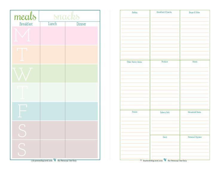 Half size meal planner for Half size set of plans