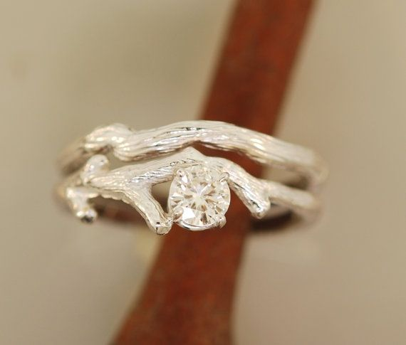 Bud Branch Set with 5 mm moissanite14karat white by TeriLeeJewelry