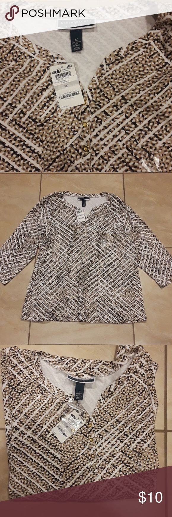 BEAUTIFUL KAREN SCOTT WOMEN TOP BRAND NEW TAGS BEAUTIFUL KAREN SCOTT WOMEN TOP BRAND NEW WITH TAGS. LIGHT BROWN BLACK AND WHITE DESIGN WITH THREE SMALL GOLD BUTTONS IN THE MIDDLE. CASUAL YET ELEGANT TOP, PERFECT FOR THE OFFICE, GOING OUT TO LUNCH OR EVEN SIMPLY GOING TO THE MALL. KEPT IN A PET FREE AND SMOKE FREE HOME - WILLING TO BUNDLE WITH SELECT ITEMS AND PRICE IS ALWAYS NEGOTIABLE! Karen Scott Tops Tees - Long Sleeve