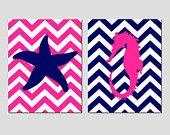 Seestern Seahorse nautische Duo - Set von zwei 8 x 10 Prints - Kinder Wandkunst - Chevron oder Polka Dot Hintergrund - wählen Sie IHRE Farben