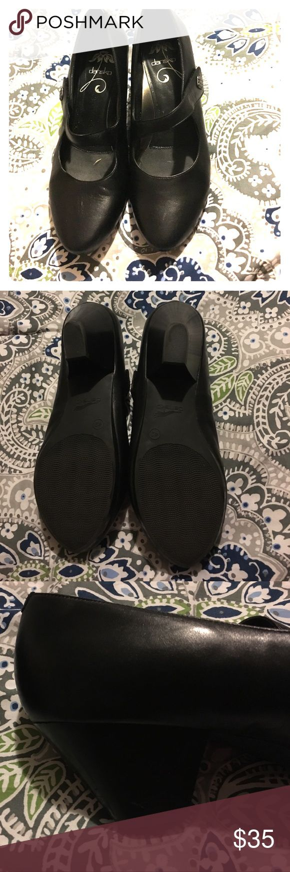 Barely Worn Dansko heeled Mary Janes Size 12 Danskos (International Size 42) barely worn! No scuffs on the leather.  Great condition, I just give up on heels!!  Heel height is approximately 1.5 to 2.0. Dansko Shoes Heels