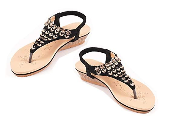 95261057eb69 Roiii Womens Ladies Diamante Jelly Sandals Summer Beach FLIP Flops Toe Post  Shoes Size  Amazon