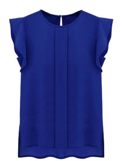 Blue Puff Sleeve Split Chiffon Blouse US$20.49