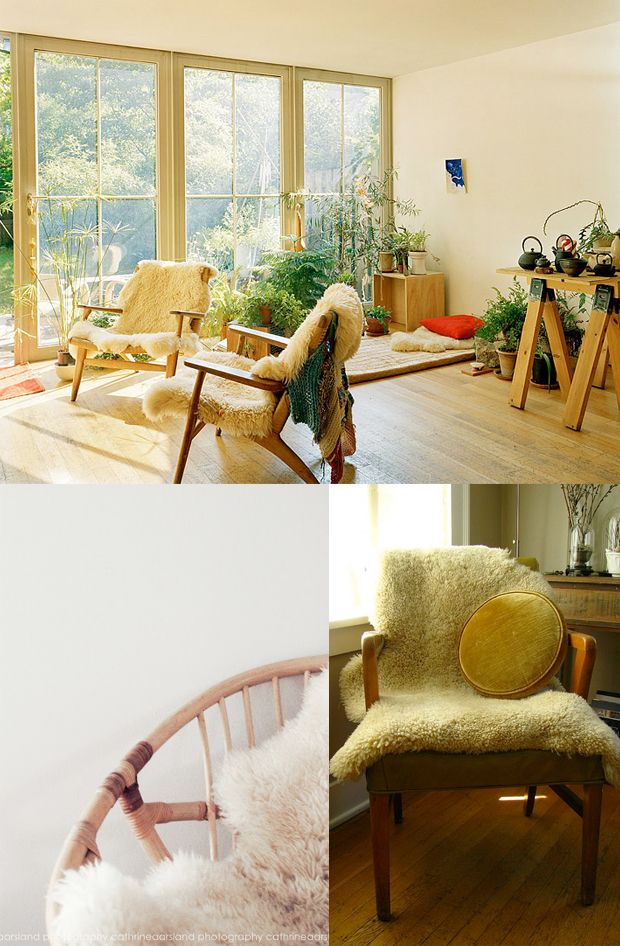 Instantly cozy: decorating with sheepskins