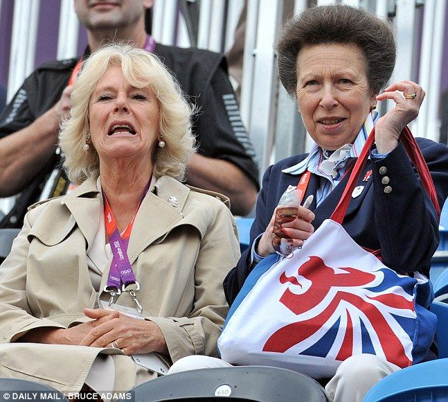 The Duchess of Cornwall and the Princess Royal encourage the British team from the stands