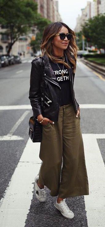 T-shirt, black leather jacket, green wide leg pant…