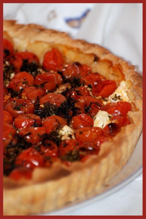 Tarte aux tomates cerises et chèvre frais