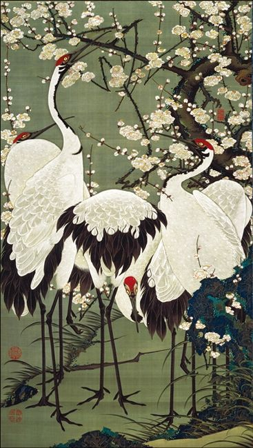 伊藤 若冲 (Ito Jakuchu) - 梅花群鶴図 ( scene of peach blossoms and cranes) - Mid-Edo Period (18th Century ). °