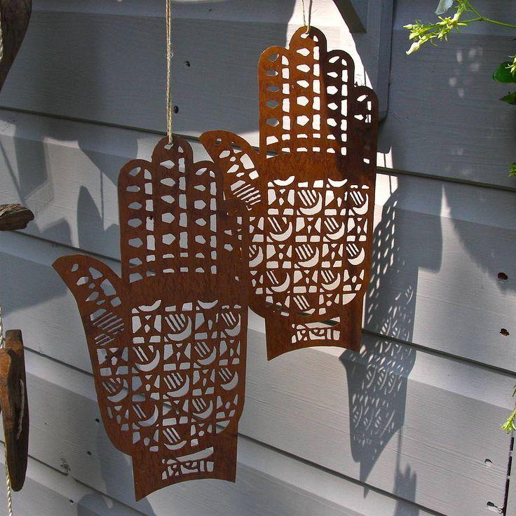 pair of rusty henna hands by london garden trading   notonthehighstreet.com