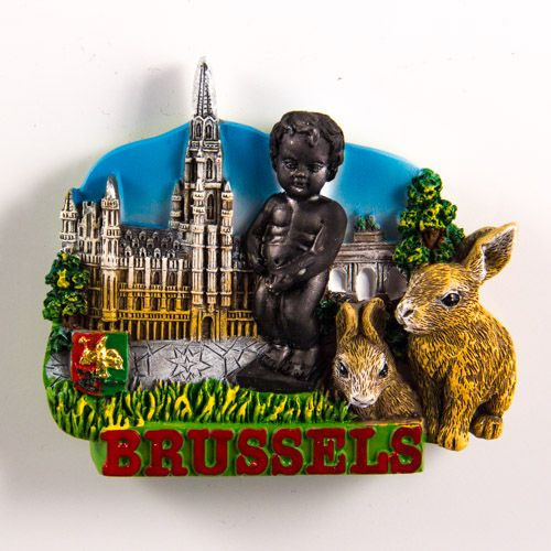 Resin Fridge Magnet: Belgium. Brussels Attractions