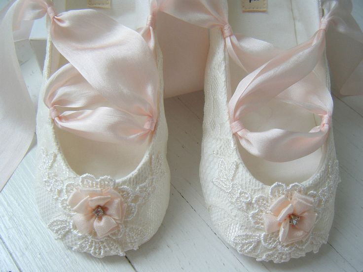 Flower Girl Ballet Shoes | ballet shoes ivory lace blush pink slipper for flower girl bobka shoes ...