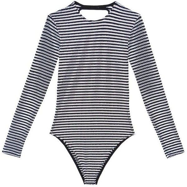 LS One Piece ($325) ❤ liked on Polyvore featuring swimwear, one-piece swimsuits, striped one piece swimsuit, striped bathing suit, open-back one-piece swimsuits, 1 piece swimsuit and black and white one piece bathing suits