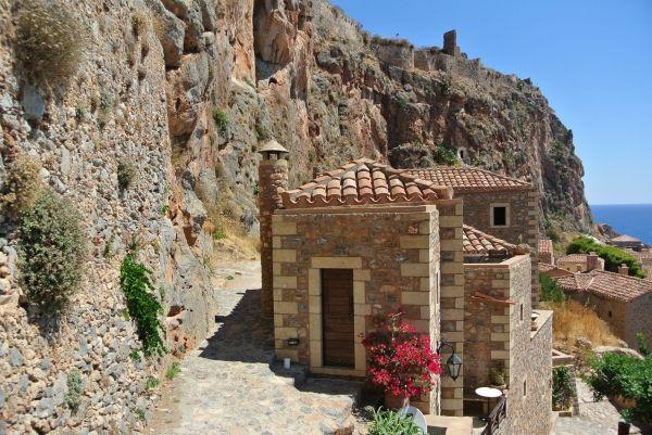 Walking to the Upper Town of Monemvasia Castle