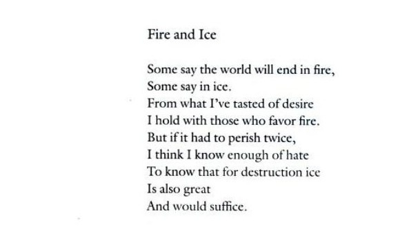 A literary analysis of the poem fire and ice by robert frost