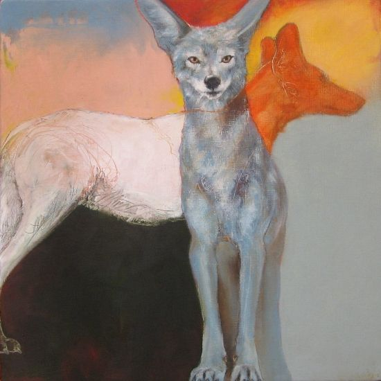 Coyote39. by Rebecca Haines. Oil and wax pencil on board.
