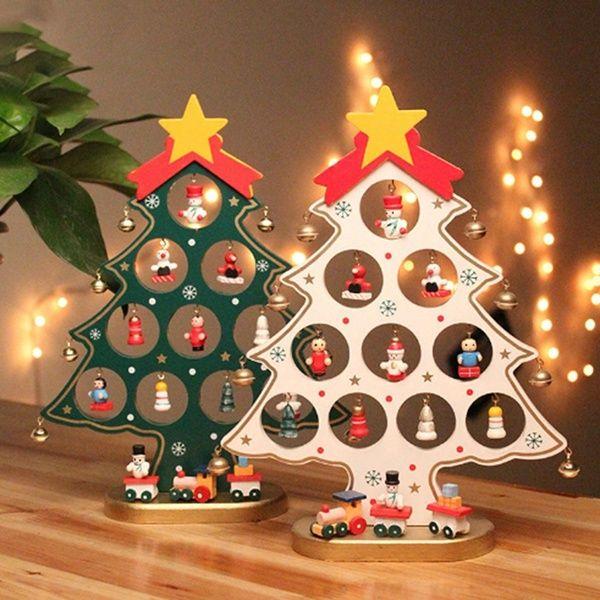 22cm Diy Wooden Christmas Ornaments Festival Party Xmas Tree Table Desk Decoration Wooden Christmas Ornaments Wooden Christmas Tree Decorations Wooden Christmas Trees