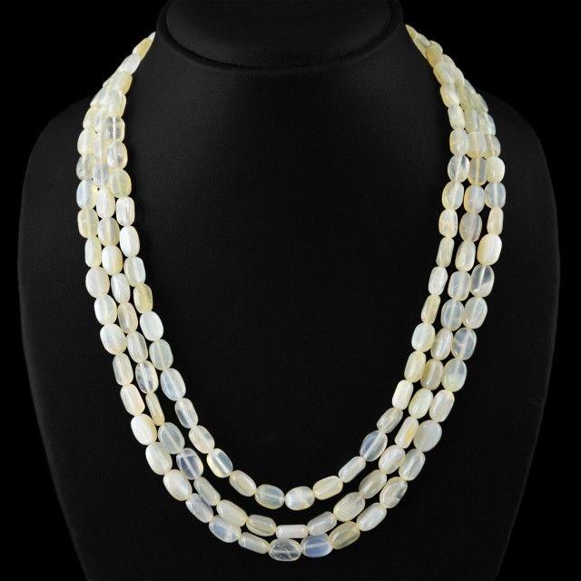 Genuine 395.00 Cts Moonatone 3 Lines Beads Necklace  moonstone beads, gemstone necklace