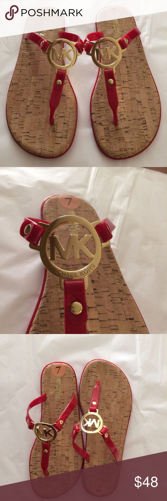 🌷⚜️Host Pick ⚜️🌷Michael Kors Flip Flops ☀️ ☀️🌴 Gorgeous Red Jelly Sandals by designer Michael Kors featuring gold plated logo stamped MK! Perfect for Spring and Summer! So kick off those winter boots and show your cute feet in designer flip flops! Never Worn without Box! ☀️🌴 Michael Kors Shoes Sandals