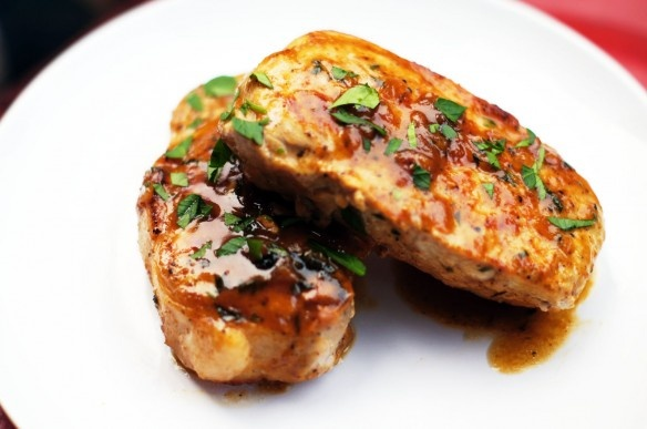 Absolutely delicious - maple mustard pork chop.