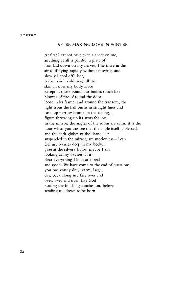 """May 1987 : Poetry Magazine; Sharon Olds """"After Making Love In Winter"""""""